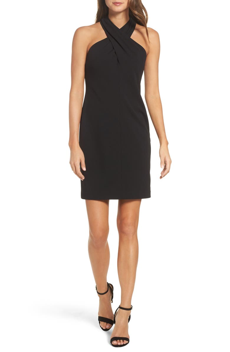 ELIZA J Halter Sheath Dress, Main, color, BLACK