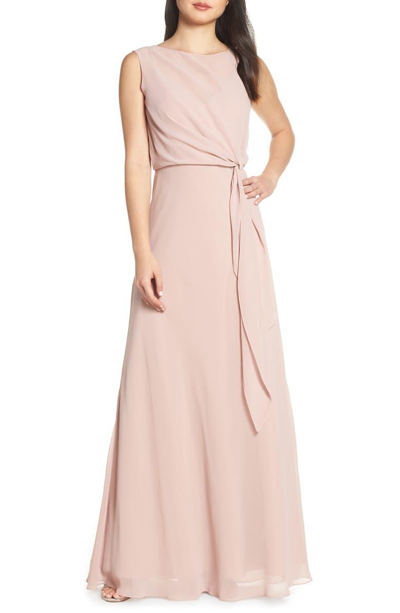 JENNY YOO Chiffon Overlay Evening Dress, Main, color, WHIPPED APRICOT