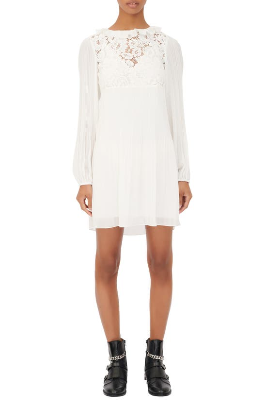 Maje Mini dresses LACE BODICE LONG SLEEVE DRESS