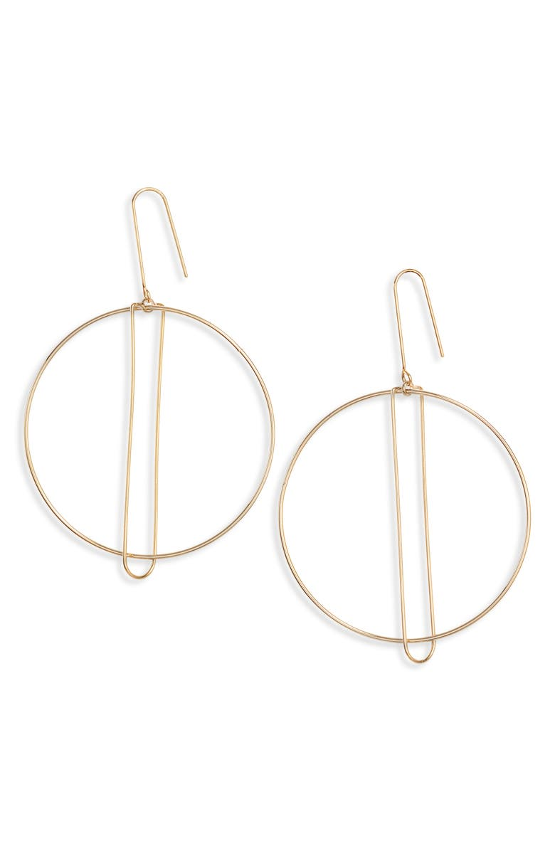 ARGENTO VIVO Art Deco Hoop Drop Earrings, Main, color, GOLD