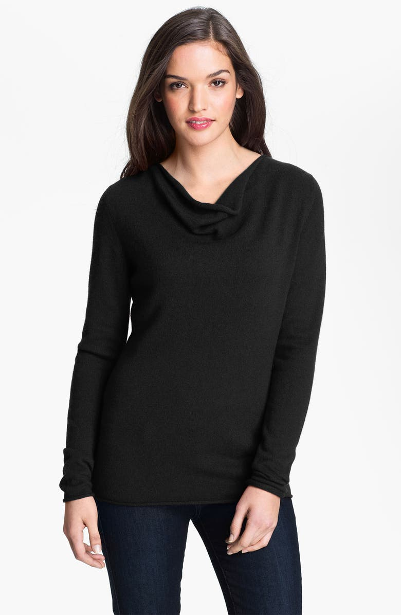 SAFFRON Drape Neck Cashmere Sweater, Main, color, 001