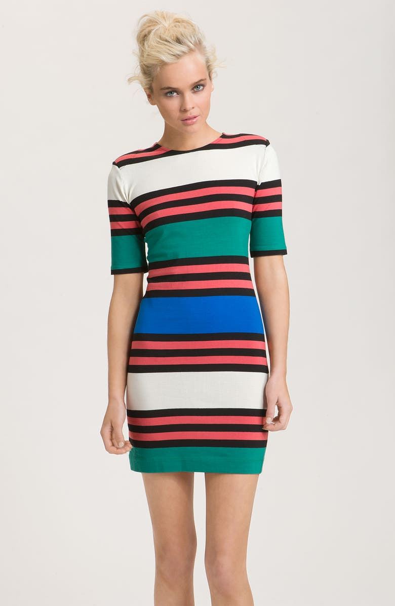 FRENCH CONNECTION 'Jag' Multi Stripe Jersey Dress, Main, color, 100