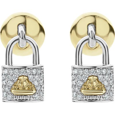 Lagos Beloved Diamond Pave Lock Earrings