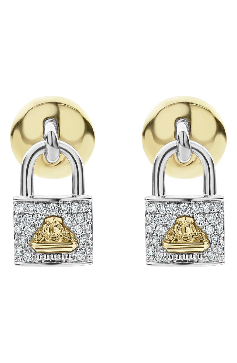 LAGOS Beloved Diamond Pav Lock Earrings
