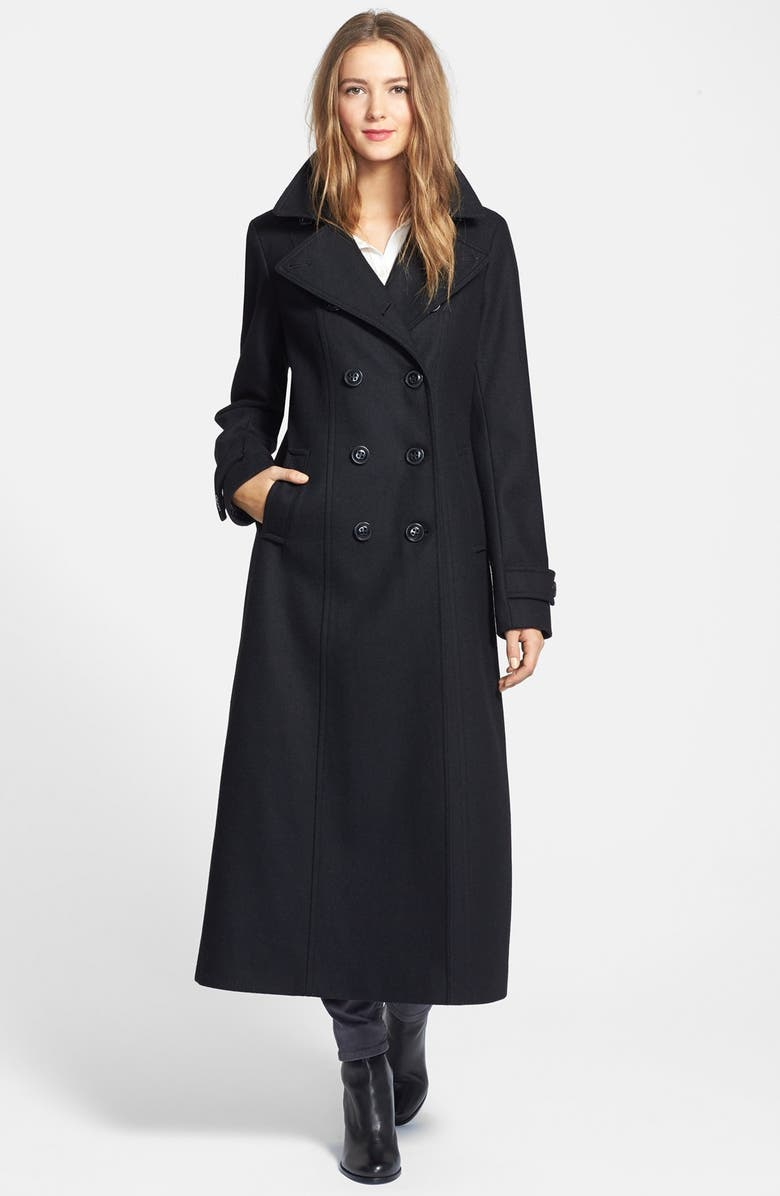 DKNY Double Breasted Long Wool Blend Coat, Main, color, 001