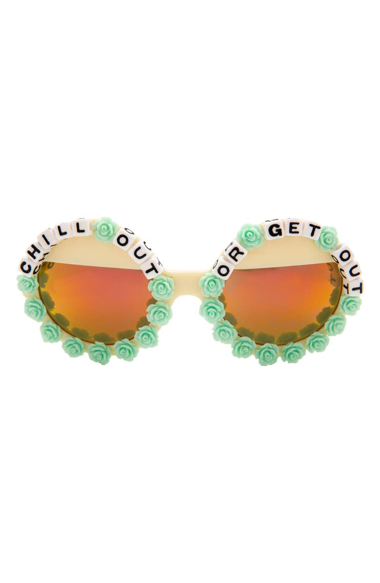 RAD + REFINED Chill Out or Get Out Mirrored Round Sunglasses, Main, color, BLUE/ BLK