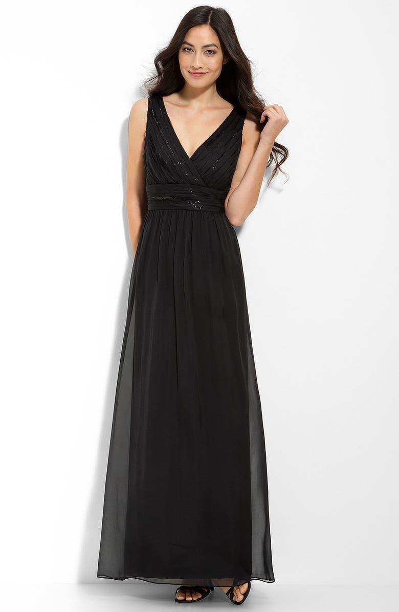 CALVIN KLEIN Sequin Trim Mesh Gown, Main, color, 001
