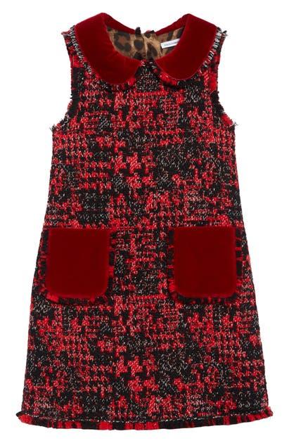 Dolce & Gabbana Kids' Girl's Sleeveless Tweed Dress W/ Velvet Details In Fantasia