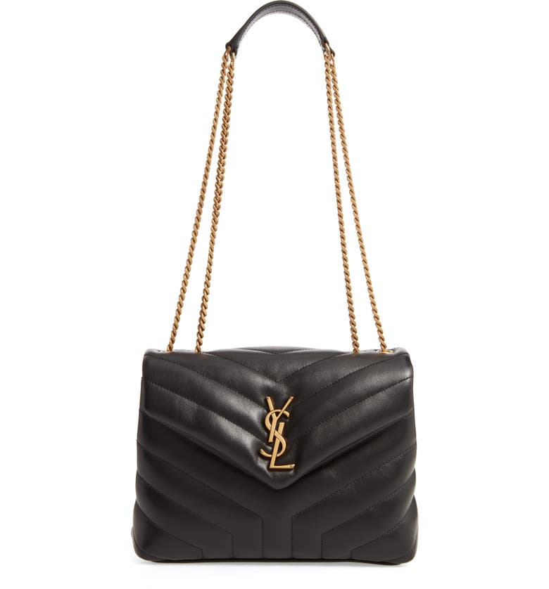 SAINT LAURENT Small Loulou Leather Shoulder Bag, Main, color, NOIR