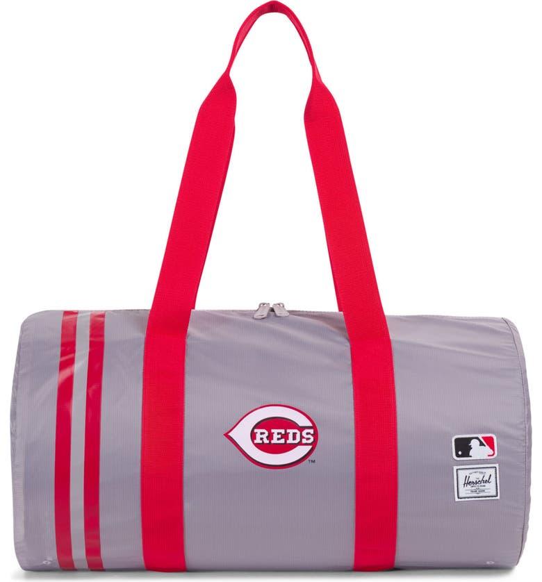 HERSCHEL SUPPLY CO. Packable - MLB National League Duffle Bag, Main, color, CINCINNATI REDS