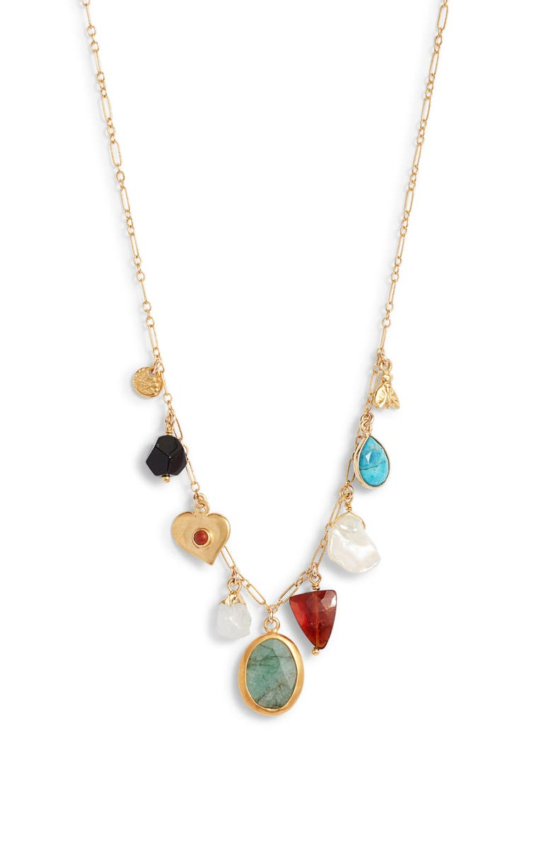 CHAN LUU Stone & Pearl Charm Necklace, Main, color, MULTI MIX