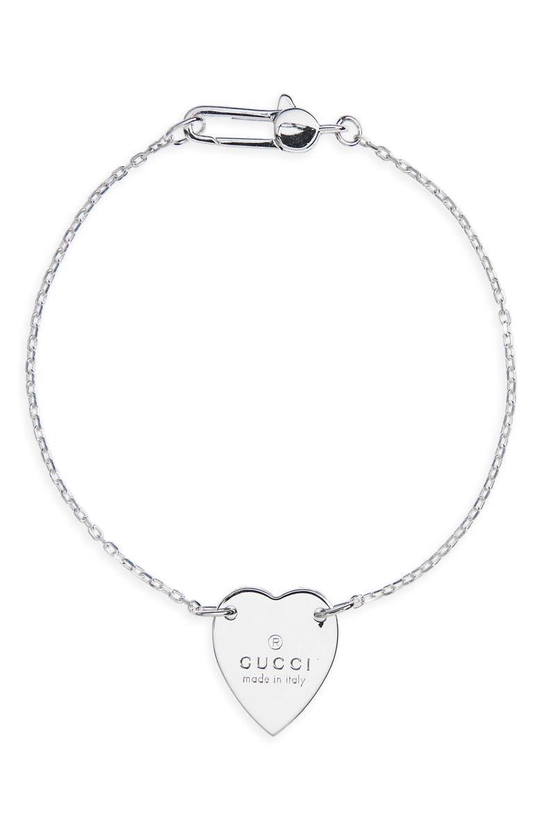 GUCCI Trademark Heart Chain Bracelet, Main, color, 040