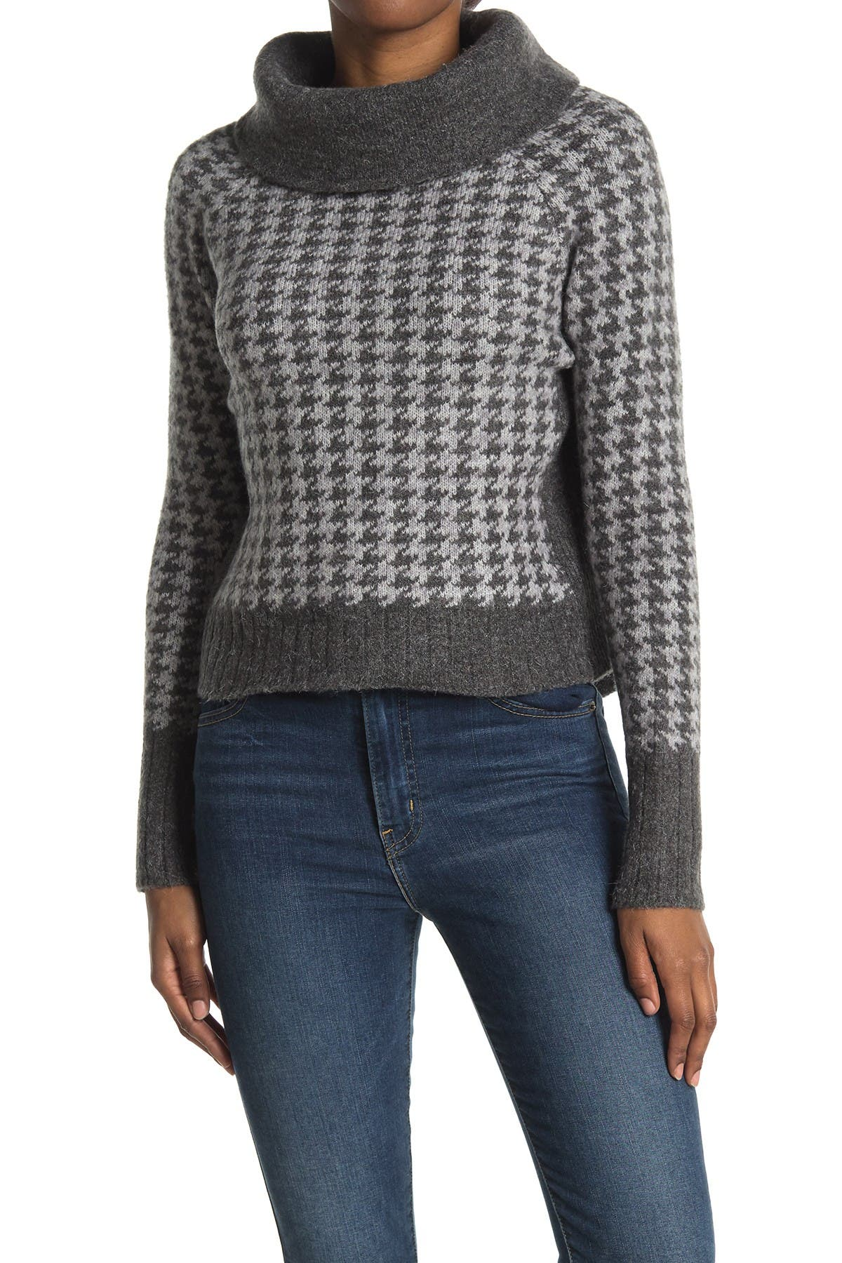 Image of Cloth By Design Houndstooth Plush Turtleneck Sweater