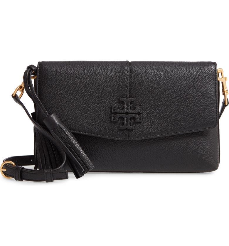 TORY BURCH McGraw Leather Crossbody Bag, Main, color, BLACK