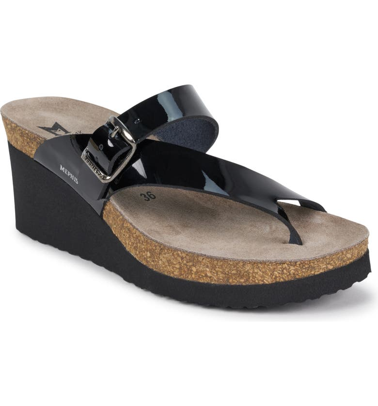 MEPHISTO Tyfanie Wedge Slide Sandal, Main, color, BLACK PATENT LEATHER