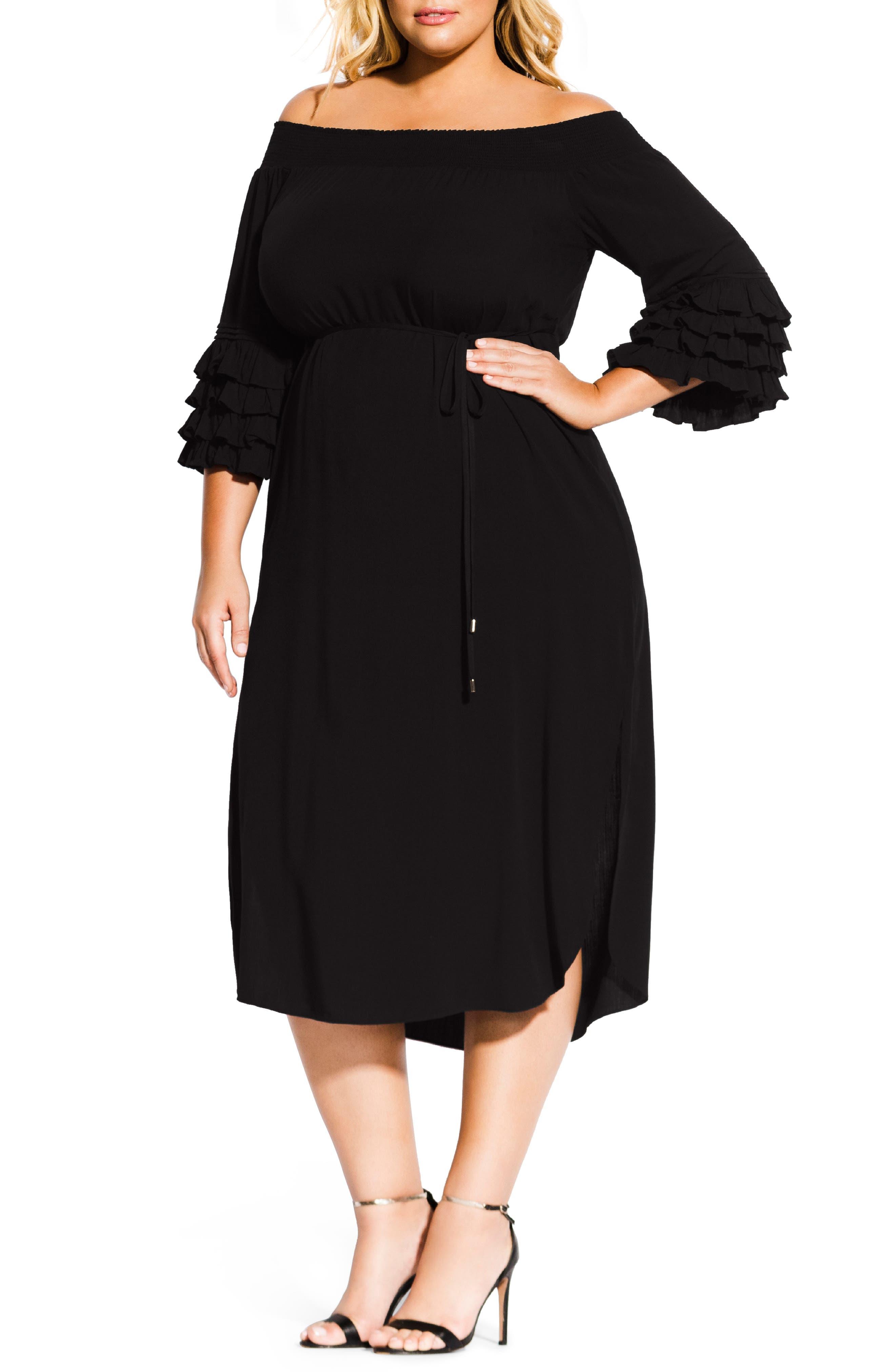 Plus Size City Chic Off The Shoulder Tie Waist Midi Dress, Black