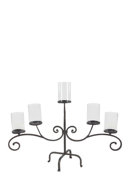 "Image of Willow Row Traditional 21"" x 36"" Black Iron And Glass Five-Light Scroll Candle Holder"