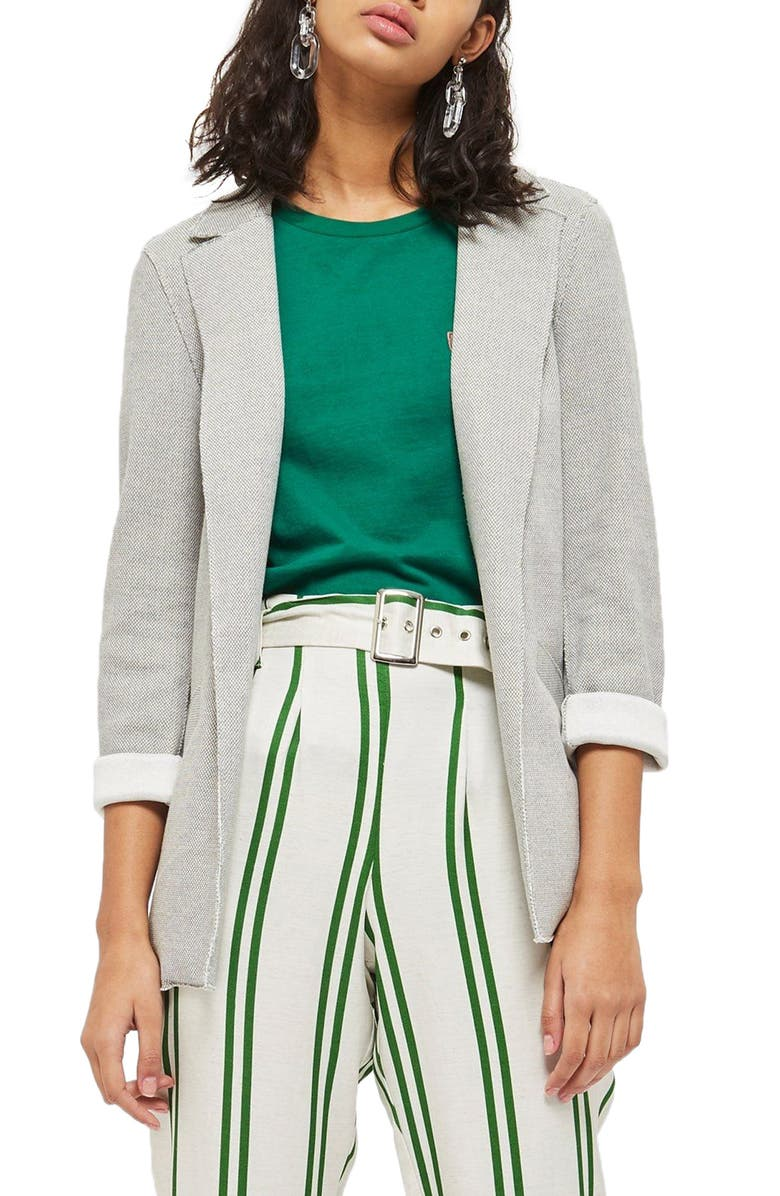 TOPSHOP Deconcrusted Jersey Blazer, Main, color, 020