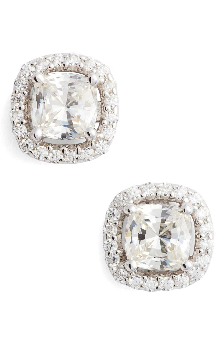 LAFONN Cushion Cut Simulated Diamond Stud Earrings, Main, color, SILVER/ CLEAR