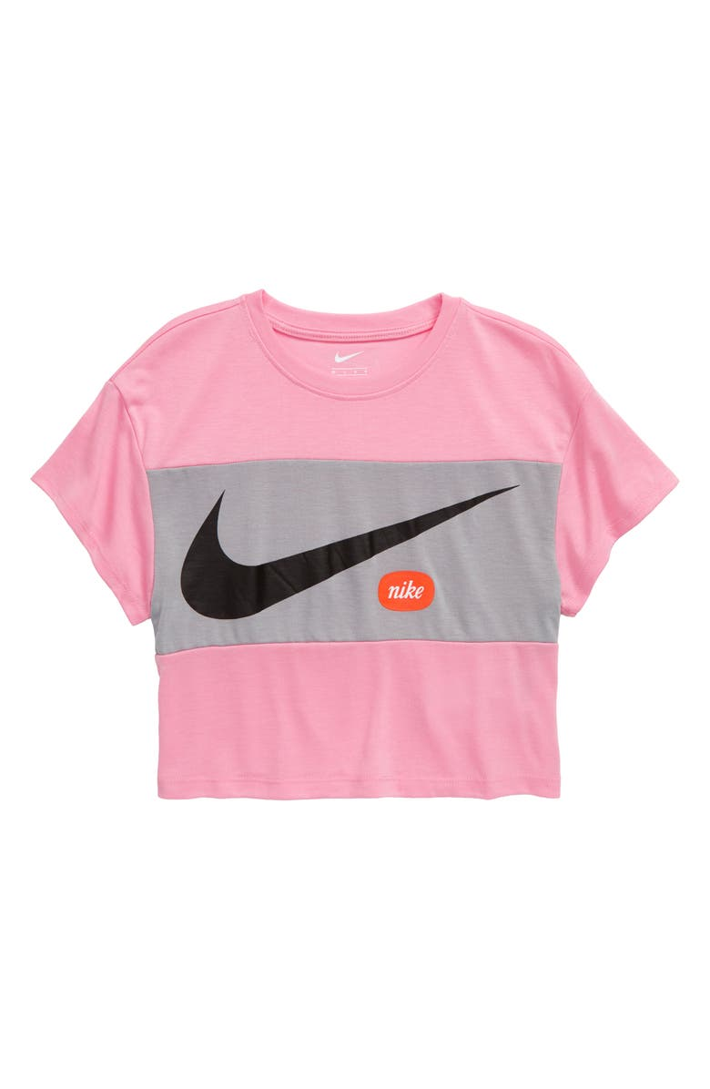 NIKE Swoosh Fashion Graphic Tee, Main, color, PINK