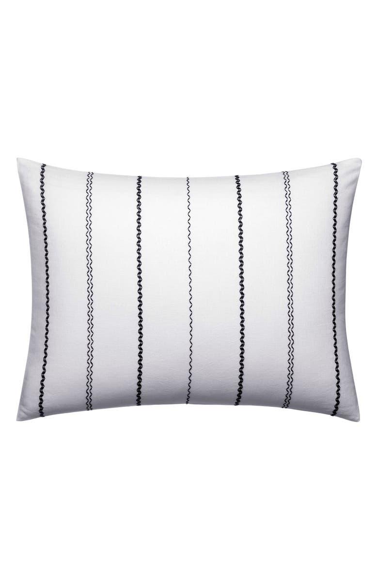 VERA WANG Ink Botanical Chevron Stitch Accent Pillow, Main, color, WHITE