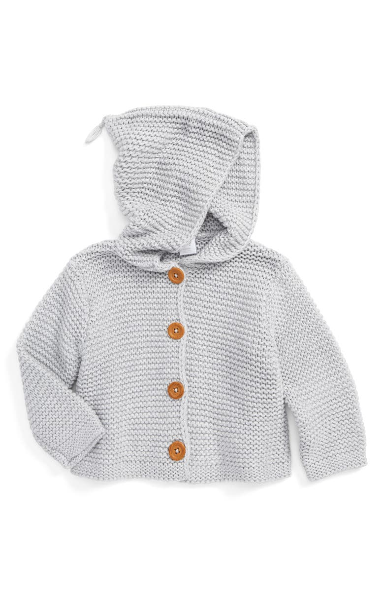 NORDSTROM Baby Organic Cotton Hooded Cardigan, Main, color, GREY ASH HEATHER