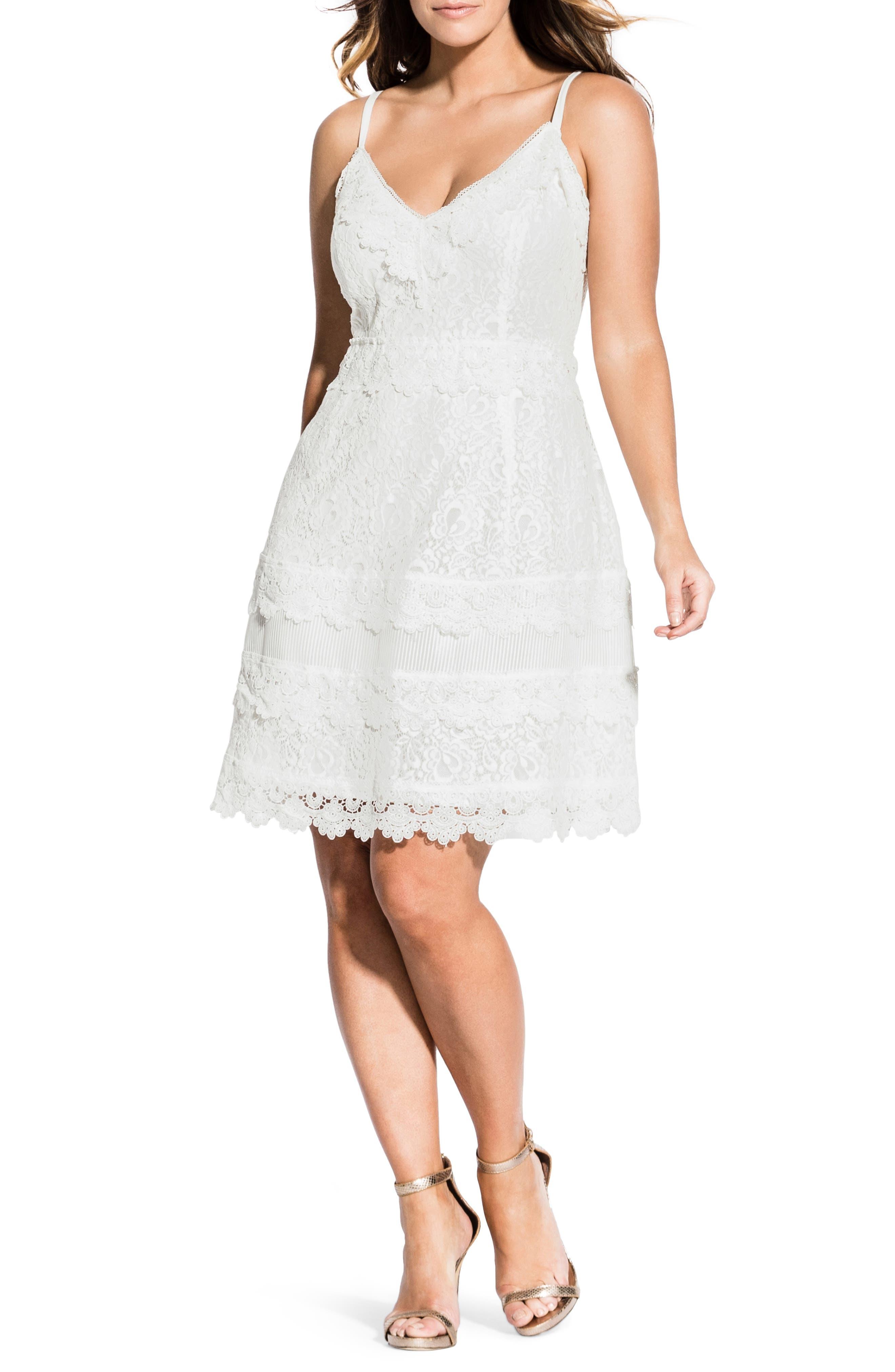 Plus Size City Chic Nouveau Cotton Blend Lace Fit & Flare Dress, White