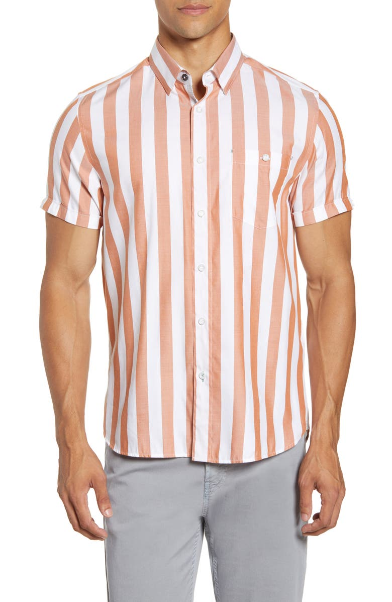 TED BAKER LONDON Marki Slim Fit Stripe Short Sleeve Shirt, Main, color, ORANGE