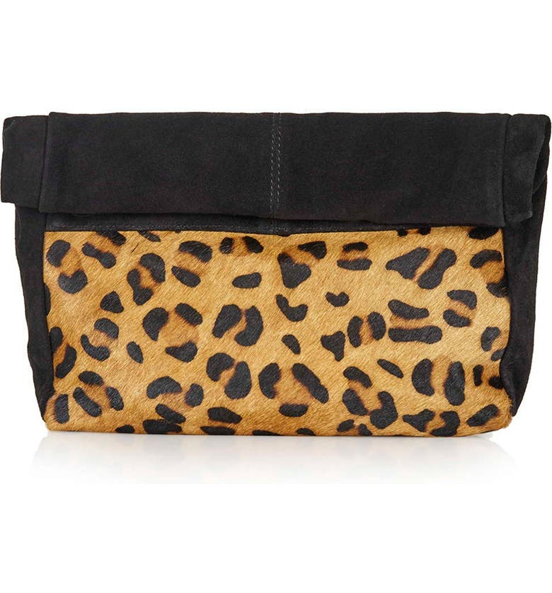 TOPSHOP Leopard Print Suede & Calf Hair Clutch, Main, color, 200