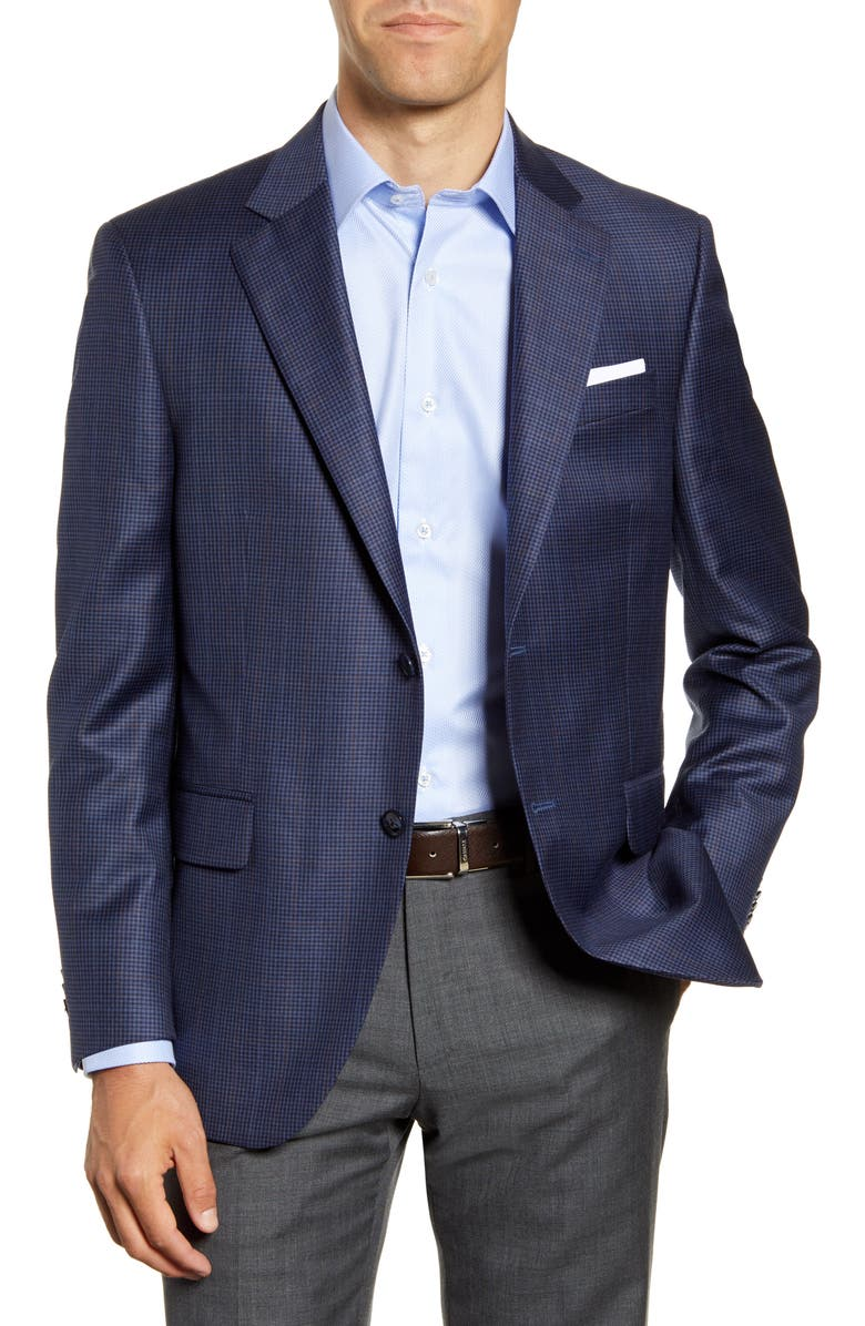 PETER MILLAR Flynn Classic Fit Check Wool Sport Coat, Main, color, NAVY