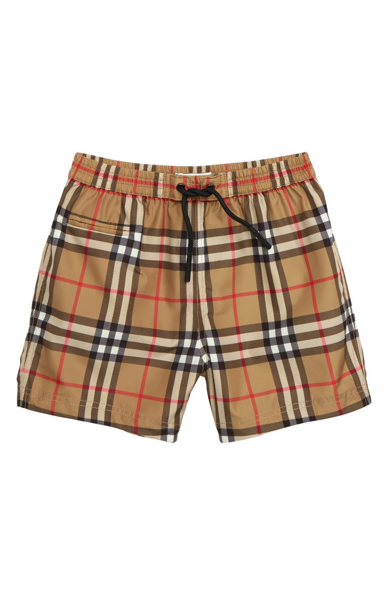 BURBERRY Galvin Check Swim Trunks, Main, color, ANTIQUE YELLOW