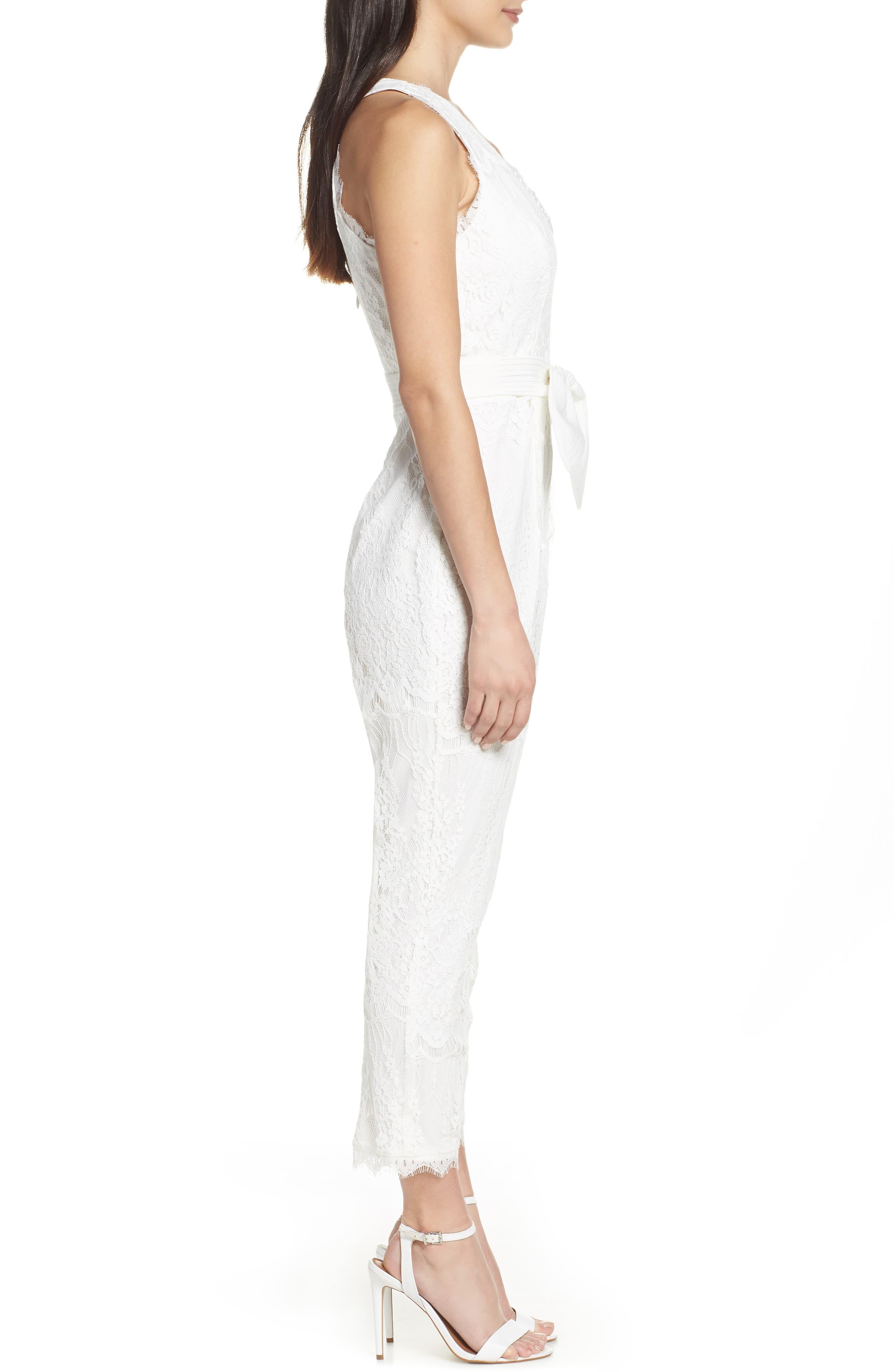 ,                             Scallop Trim Lace Jumpsuit,                             Alternate thumbnail 4, color,                             OFF WHITE