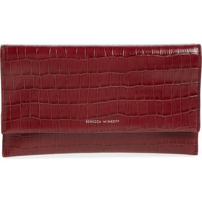 Rebecca Minkoff Croc Embossed Leather Clutch - Purple