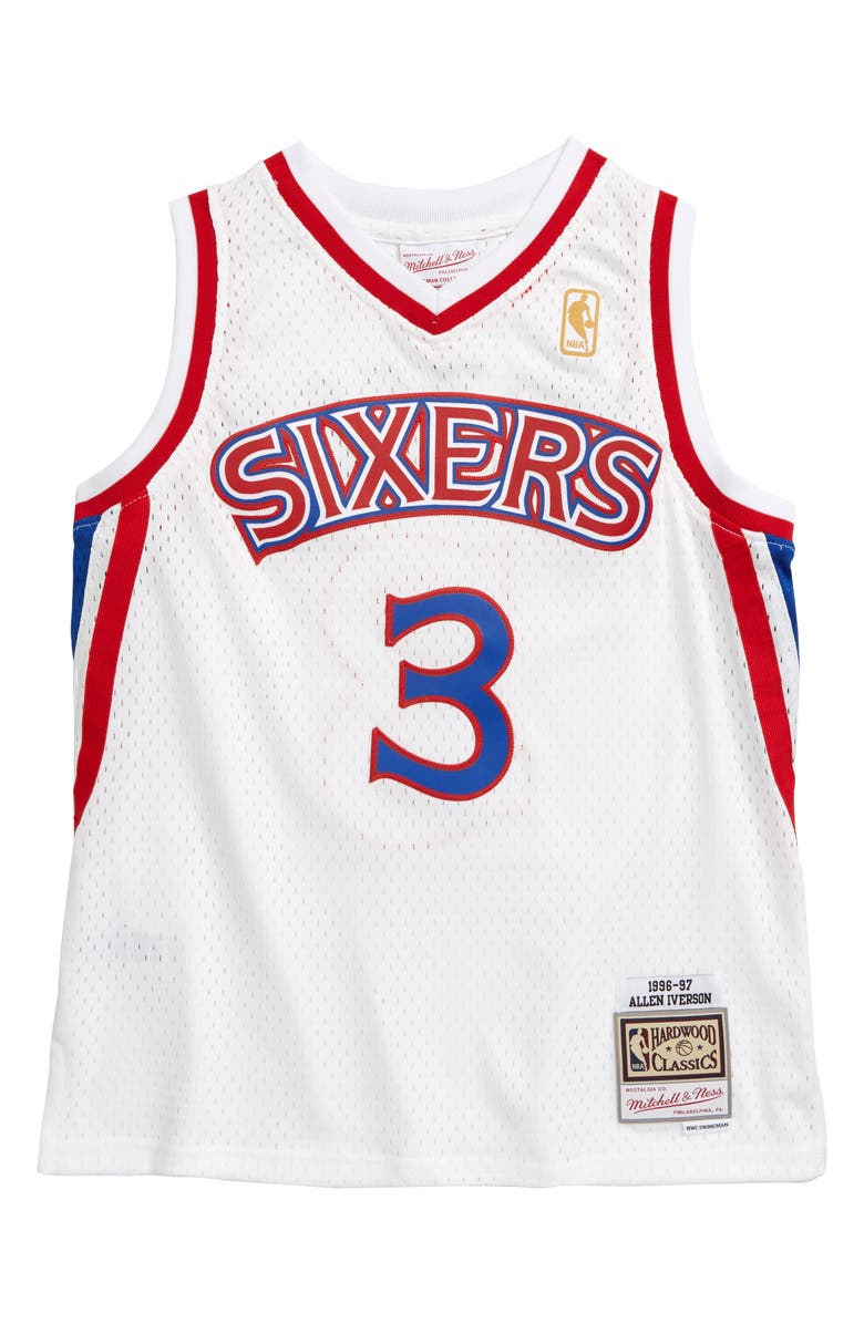 MITCHELL & NESS Swingman Philadelphia 76ers Allen Iverso Basketball Jersey, Main, color, WHITE