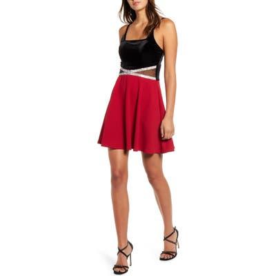 Speechless Rhinestone Detail Skater Dress, Red
