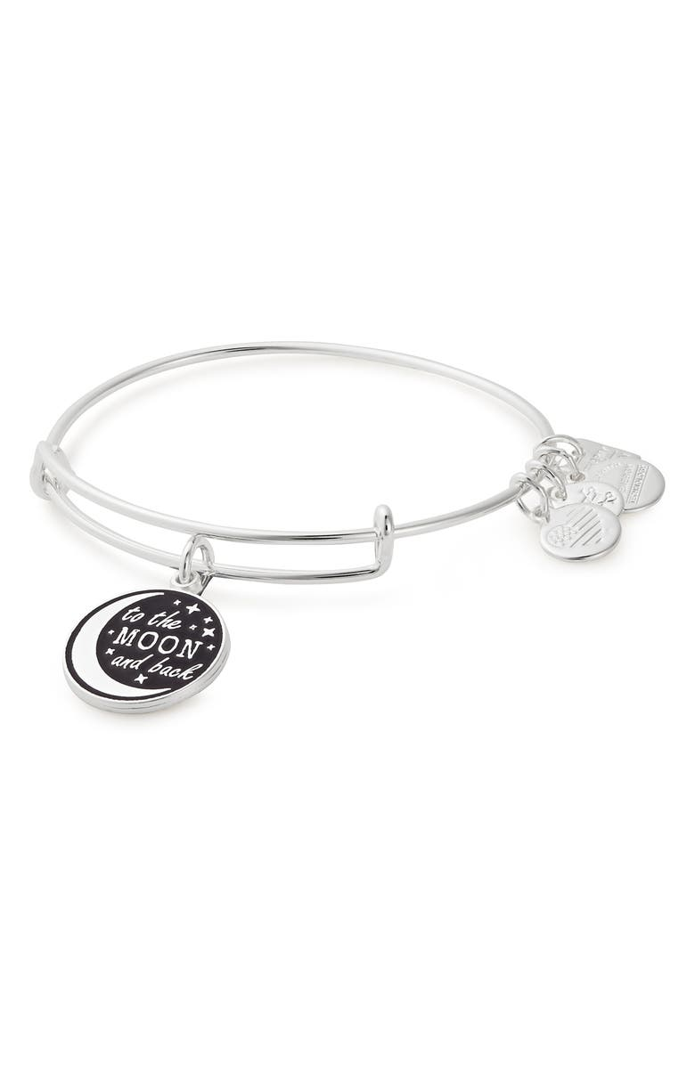 ALEX AND ANI Stellar Love Charm Expandable Wire Bangle, Main, color, SILVER