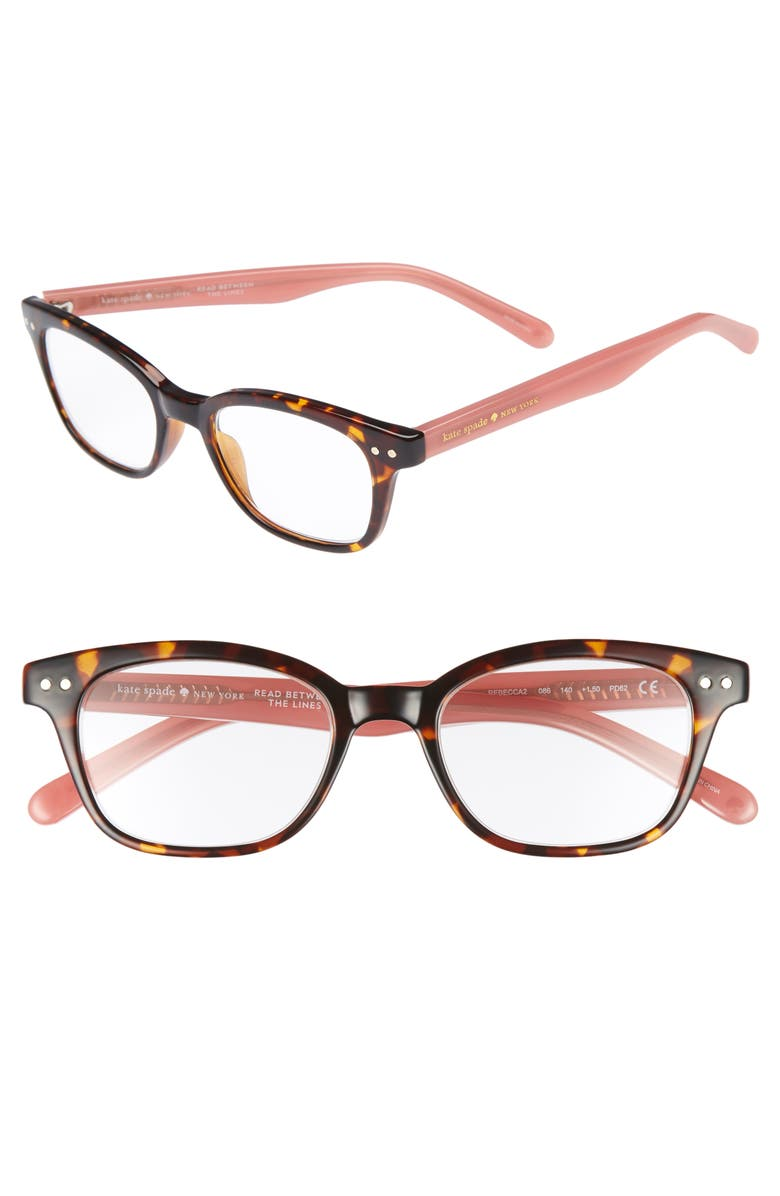 KATE SPADE NEW YORK rebecca 47mm reading glasses, Main, color, DARK HAVANA