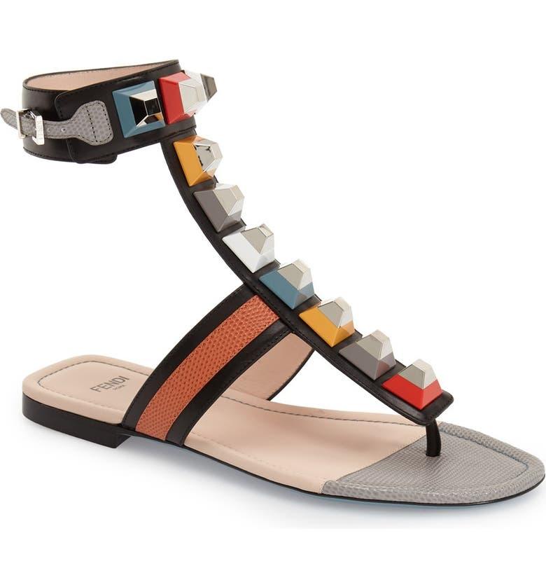 FENDI 'Rainbow' Studded Colorblock Gladiator Sandal, Main, color, 001