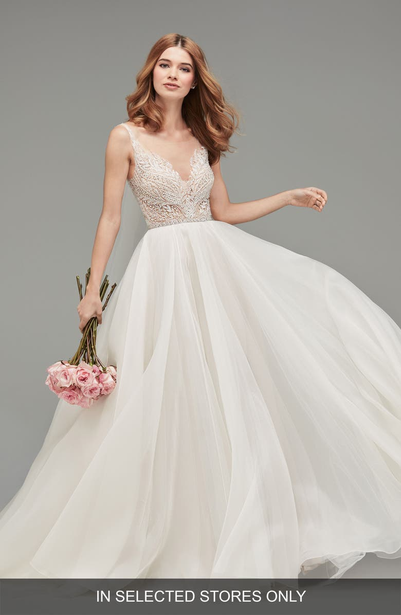 WATTERS Mihr Beaded Tulle & Organza Ballgown, Main, color, IVORY/ BLUSH