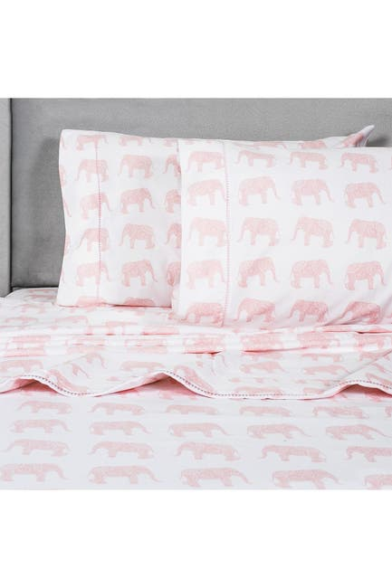 Image of Melange Home King 400 Thread Count Cotton Elephants Sheet 4-Piece Set