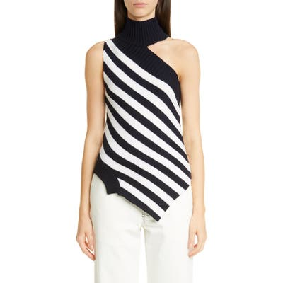 Monse One-Shoulder Asymmetrical Stripe Merino Wool Sweater, White