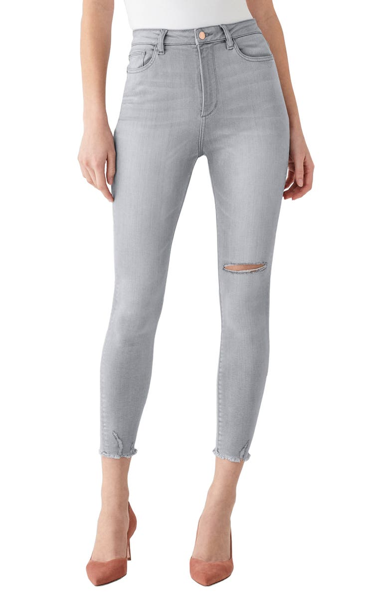 DL1961 x Marianna Hewitt Instasculpt Chrissy Ultra High Waist Fray Hem Ankle Skinny Jeans, Main, color, CALAVERAS