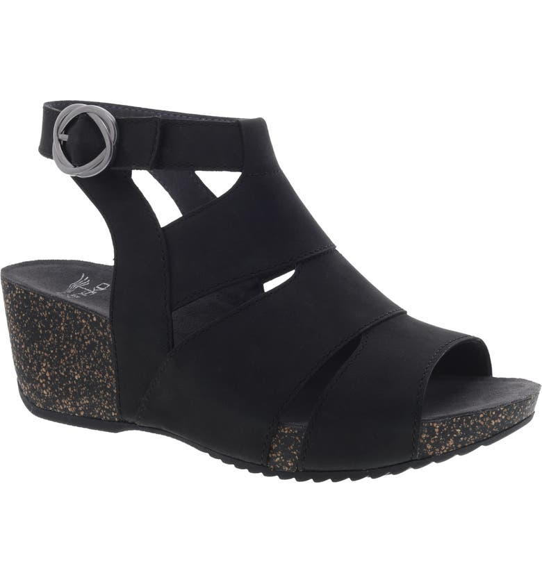DANSKO Sera Wedge Sandal, Main, color, BLACK NUBUCK LEATHER