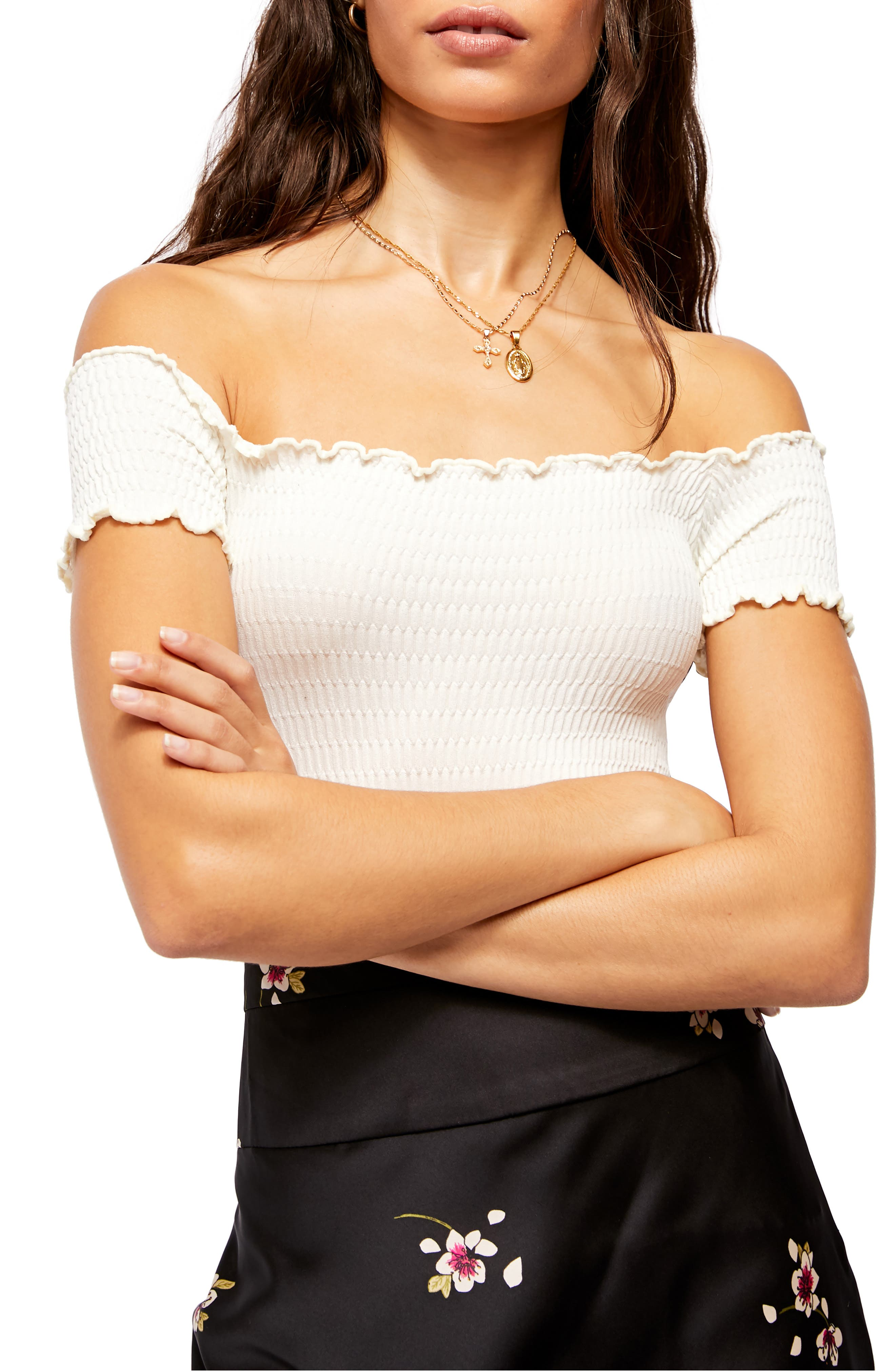 Image of Free People Moulin Smocked Off-the-Shoulder Top