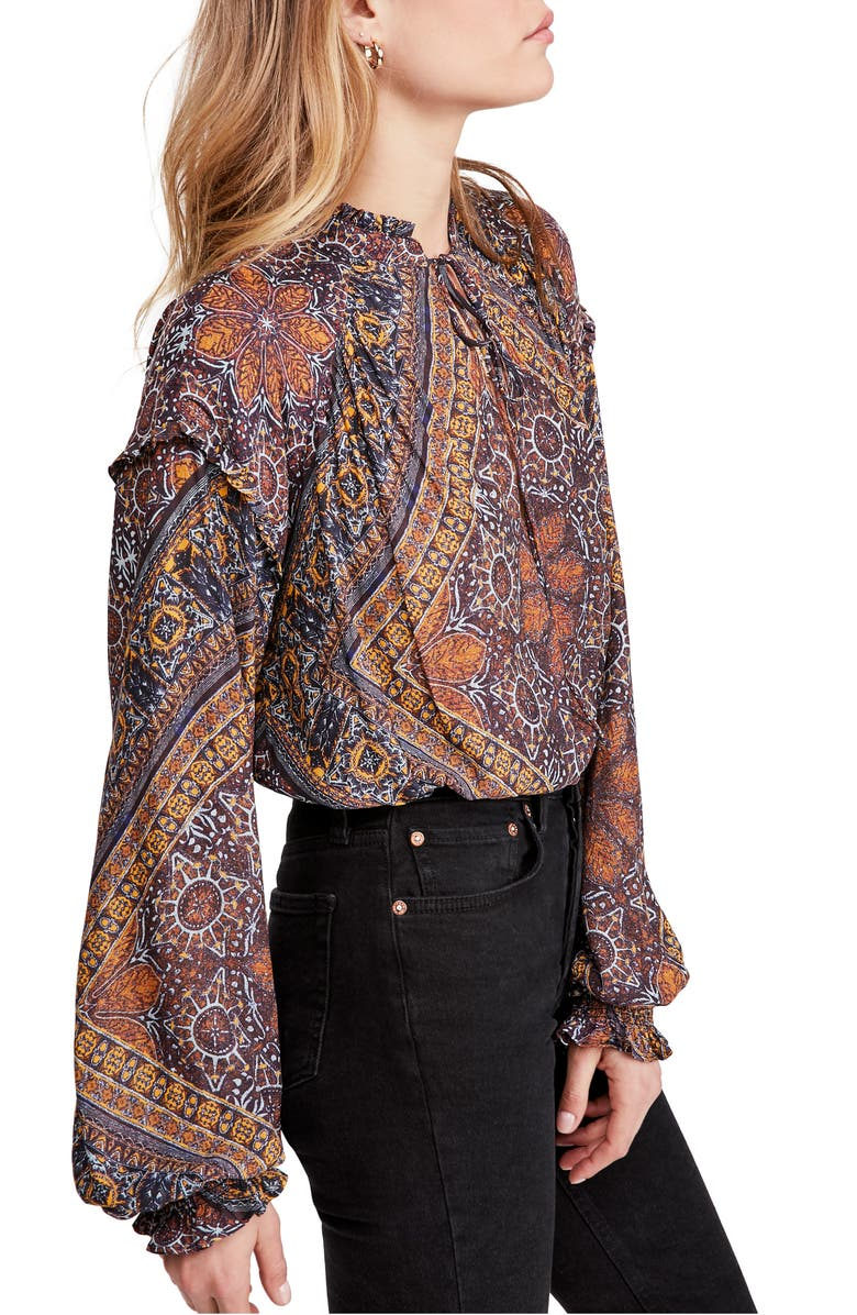 FREE PEOPLE Little Runaway Blouse, Main, color, BLACK COMBO