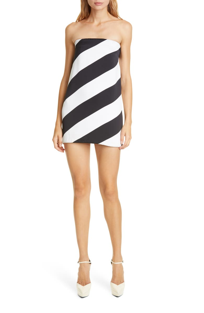 SAINT LAURENT Strapless Silk Minidress, Main, color, BLANC OPTIQUE NOIR