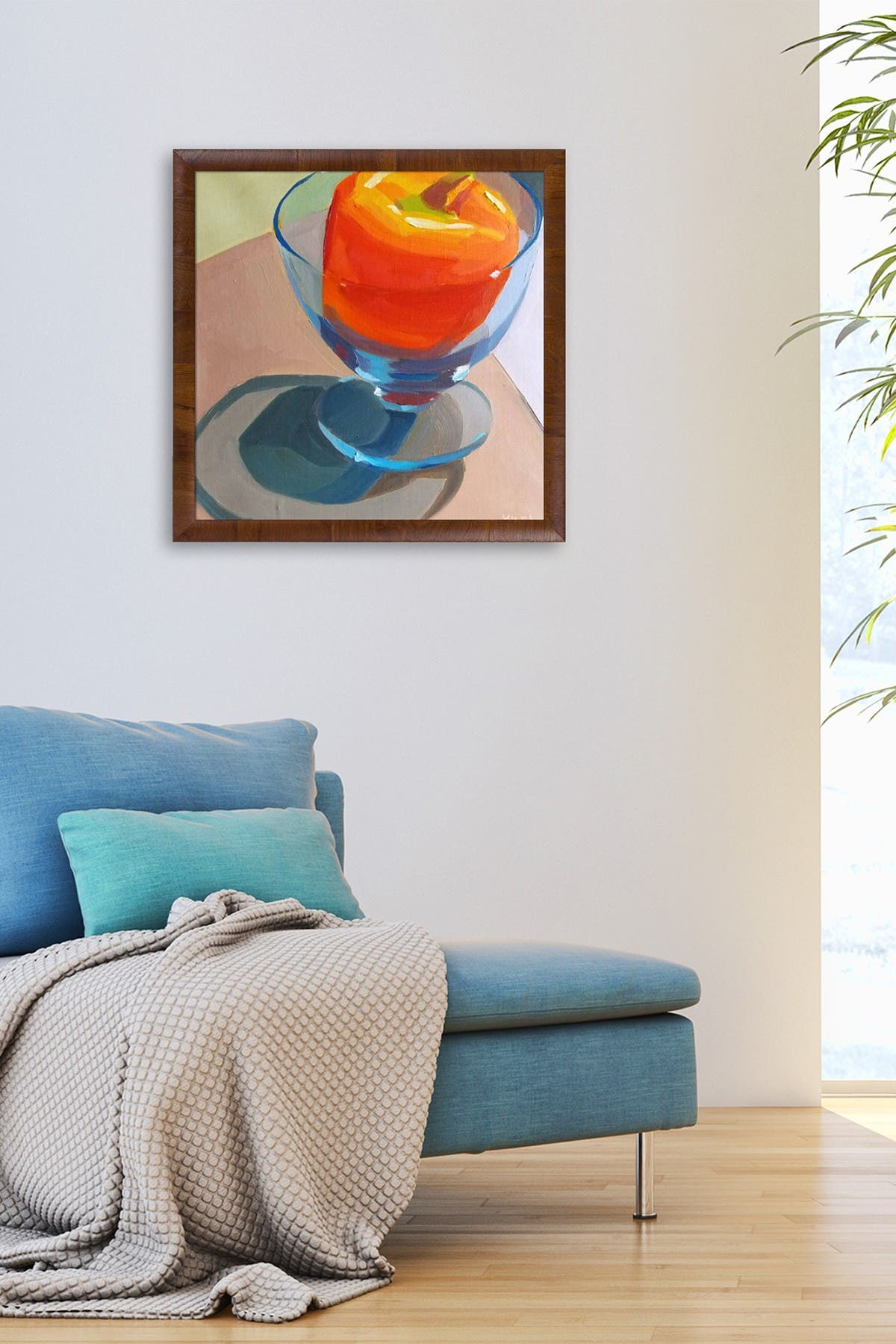 "Image of Overstock Art Orange Pepper in Blue Glass with Panzano Olivewood Frame - 27"" x 27"""