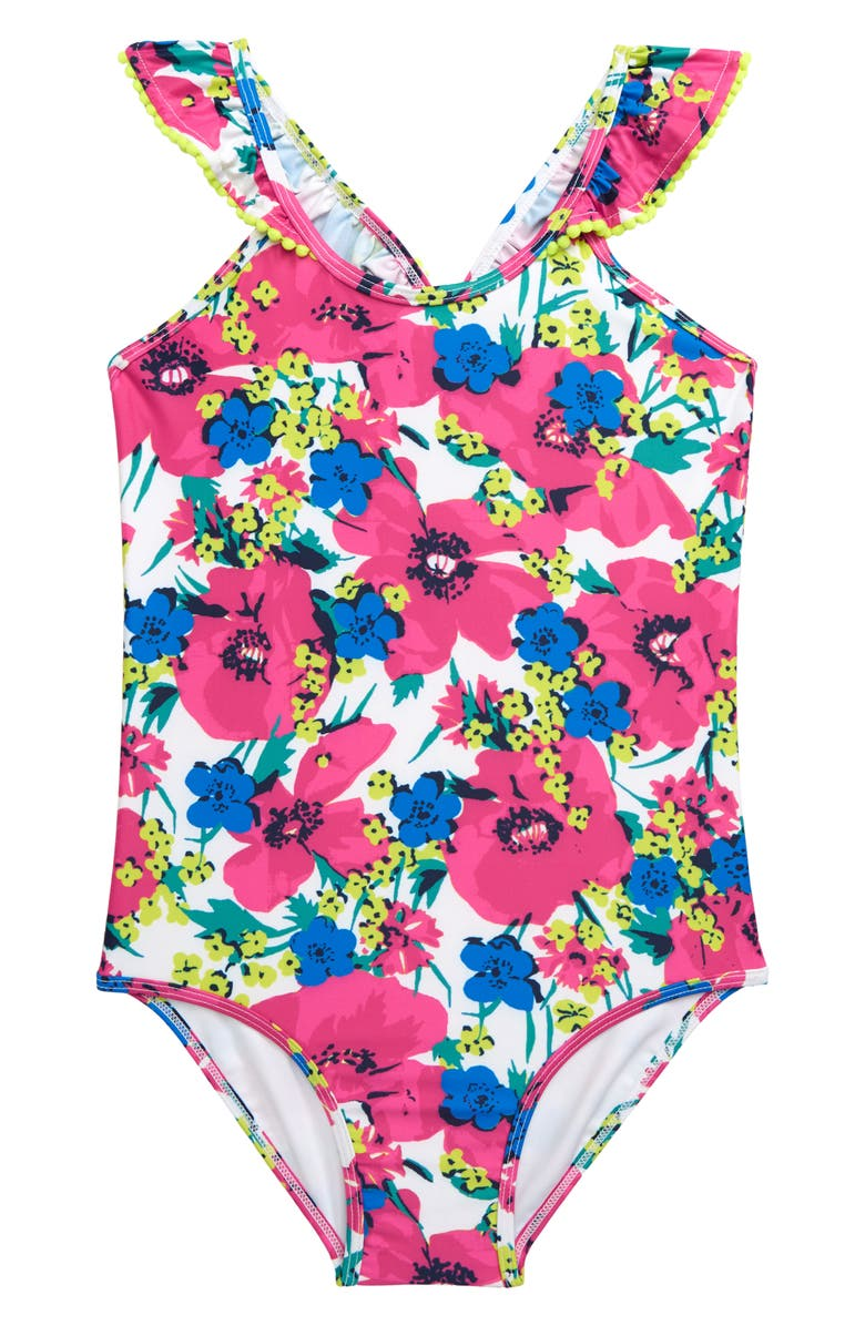 TUCKER + TATE Flounce Pop One-Piece Swimsuit, Main, color, 100