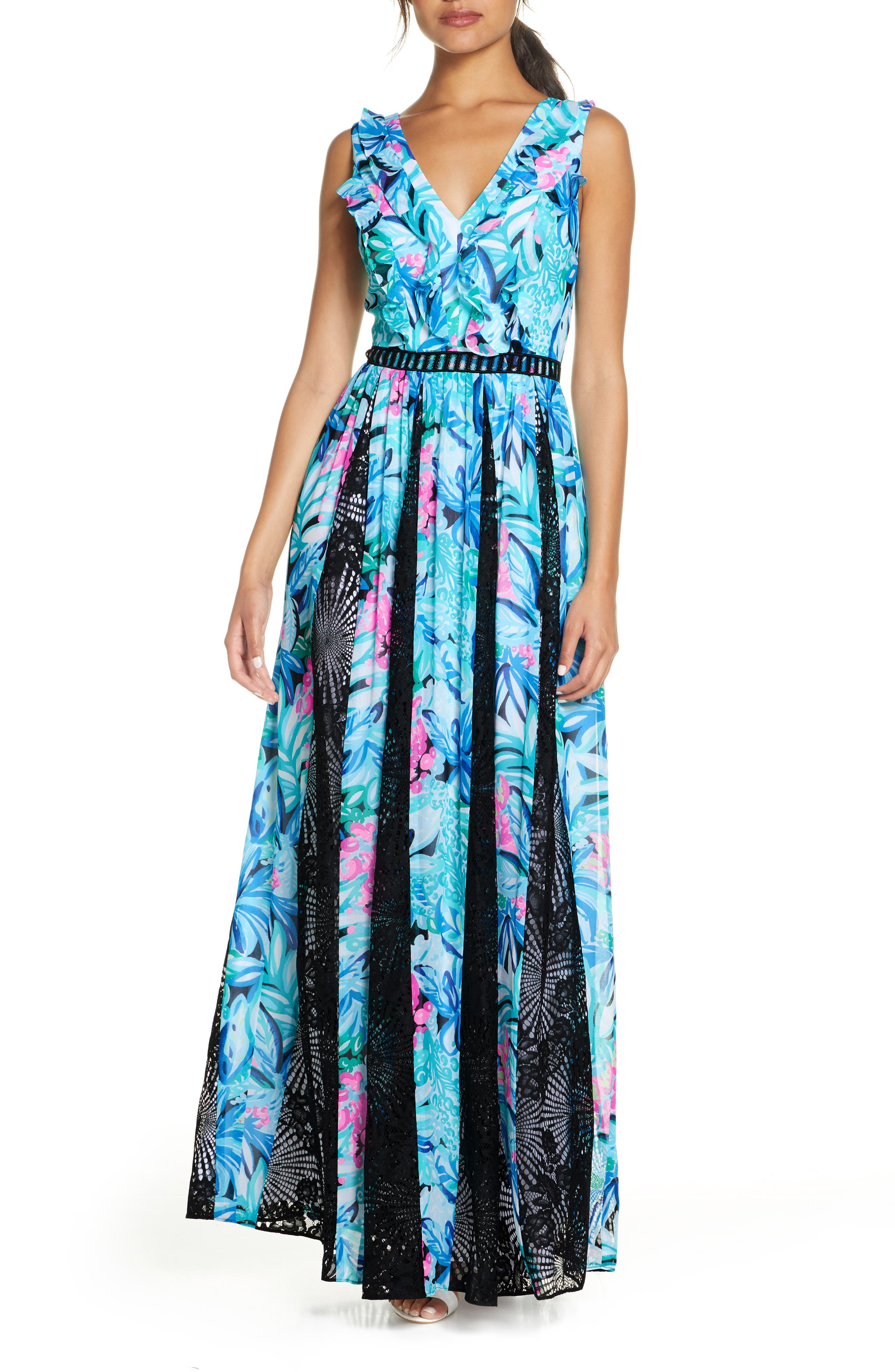 Gores of black lace add dramatic contrast and volume to a party-ready crepe maxi with a lavish watercolor print. Ruffles cascading from the V-neckline play up the romance. Style Name: Lilly Pulitzer Janette Fit & Flare Maxi Dress. Style Number: 5945045. Available in stores.