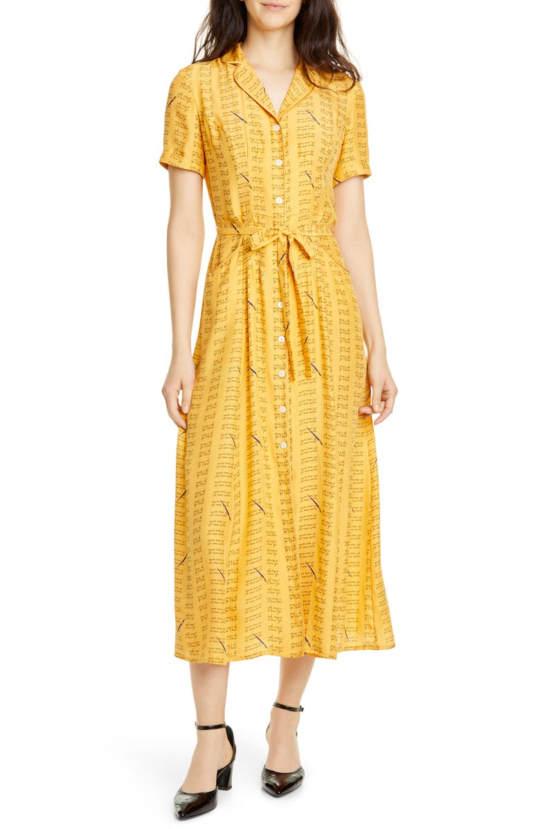 HVN Maria Love Notes Silk Shirtdress, Main, color, YELLOW LOVE NOTES